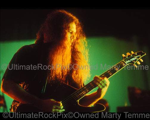 Photo of guitarist Mike Scaccia of Ministry in concert in 1992 by Marty Temme
