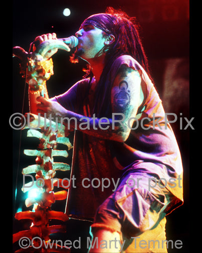 Photo of Al Jourgensen of Ministry singing in concert in 1992 by Marty Temme