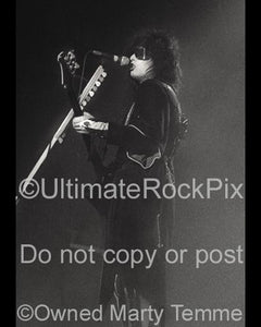 Black and White Photos of Nikki Sixx of Motley Crue in Concert in 1985 by Marty Temme
