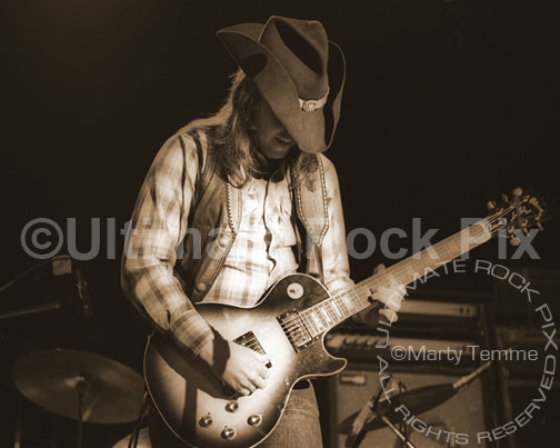 Art Print of Toy Caldwell of The Marshall Tucker Band in concert in 1974 by Marty Temme