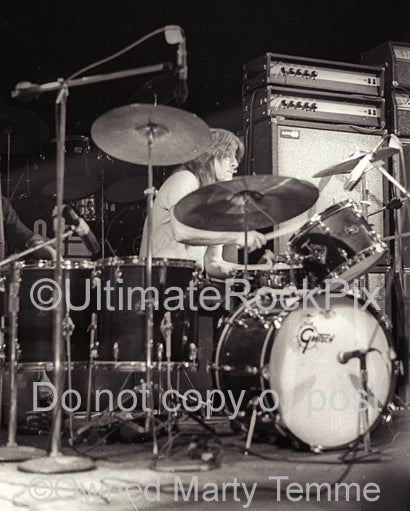 Photo of drummer Paul Riddle of The Marshall Tucker Band in concert in 1974 by Marty Temme
