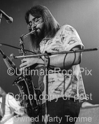Photo of saxophonist Jerry Eubanks of The Marshall Tucker Band in concert in 1974 by Marty Temme