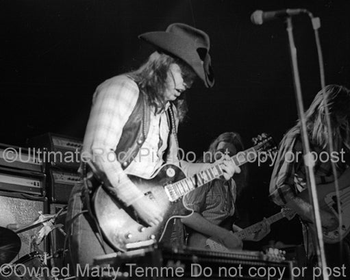 Photo of guitarist Toy Caldwell of The Marshall Tucker Band in concert in 1974 by Marty Temme