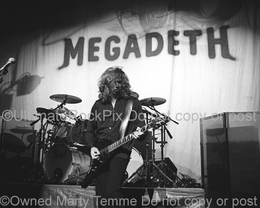 Black and white photo of Dave Mustaine of Megadeth by Marty Temme
