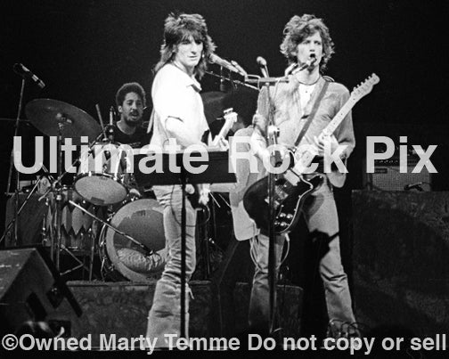 Black and white photo of Ron Wood and Keith Richards of The Rolling Stones in concert in 1979 by Marty Temme