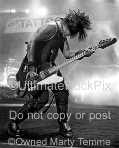 Limited Edition Prints of Nikki Sixx of Motley Crue in Concert Numbered and Signed by Marty Temme
