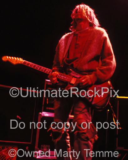 Photos of Kurt Cobain of Nirvana Playing his Fender Jaguar Onstage in 1991 by Marty Temme