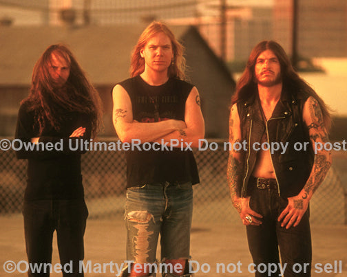 Photo of Scott Weinrich, Greg Rogers and Guy Pinhas of The Obsessed in Los Angeles, California in 1994 by Marty Temme
