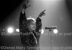 Photos of Ozzy Osbourne of Black Sabbath Raising His Arms to the Crowd in 1986 by Marty Temme