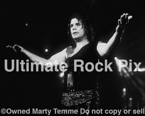 Black and white photo of Ozzy Osbourne in concert in 1989 by Marty Temme