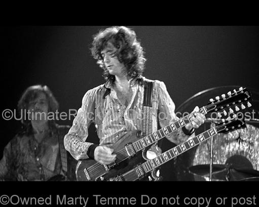 Photos of Guitar Player Jimmy Page of Led Zeppelin in Concert in 1973 by Marty Temme