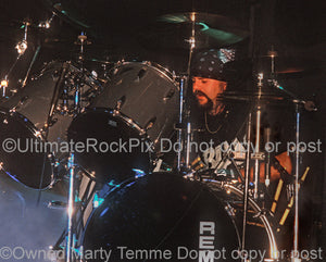 Photo of drummer Vinnie Paul Abbott of Pantera in concert in 1994 by Marty Temme