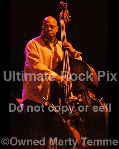 Photo of bass player Christian McBride of Pat Metheny in concert by Marty Temme