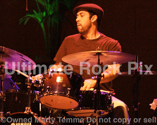 Photo of drummer Antonio Sanchez of Pat Metheny in concert by Marty Temme
