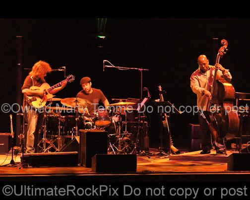 Photos of Pat Metheny, Antonio Sanchez and Christian McBride of The Pat Metheny Trio in Concert by Marty Temme