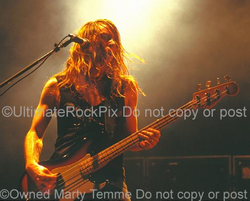 Photos of Bass player Jeff Pilson of Dokken Performing in Concert in 1995 by Marty Temme