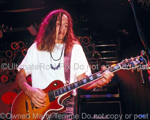 Photos of Stone Gossard of Pearl Jam Playing a Gibson Les Paul Custom in Concert in 1991 by Marty Temme