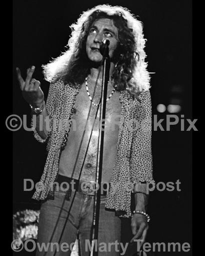 Photos of Robert Plant of Led Zeppelin in Concert in 1973 by Marty Temme
