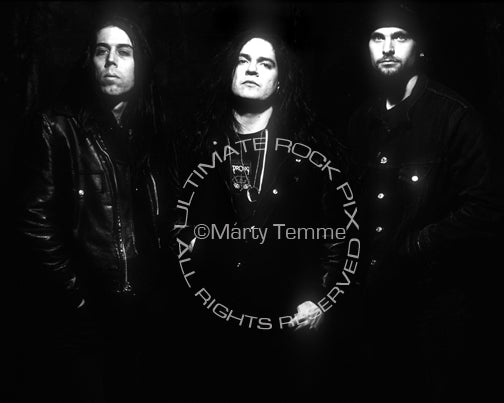 Photo of Tommy Victor and Ted Parsons of Prong during a photo shoot in 1990 by Marty Temme