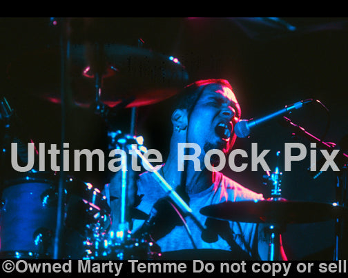 Photo of drummer Ted Parsons of Prong in concert in 1994 by Marty Temme