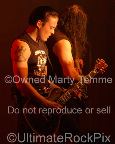 Photo of guitarist Parker Lundgren of Queensryche in concert by Marty Temme