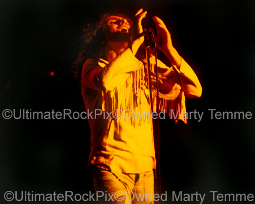 Photo of Ronnie James Dio of Rainbow in concert in 1978 by Marty Temme