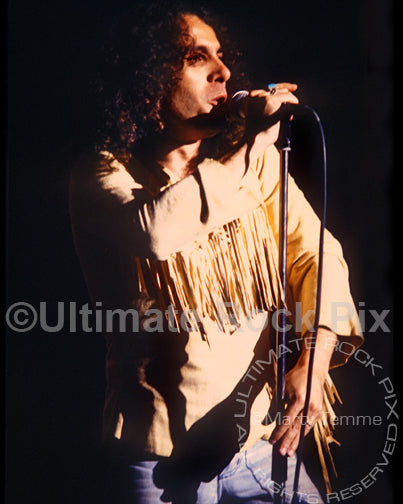 Photo of vocalist Ronnie James Dio of Rainbow in concert in 1978 by Marty Temme
