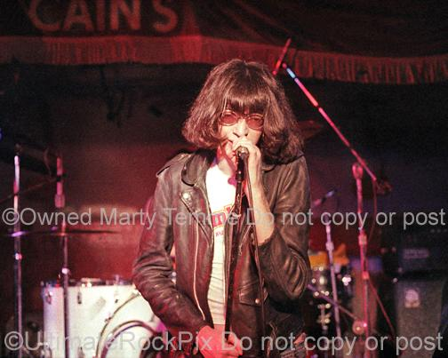 Photos of Joey Ramone of The Ramones in Concert in 1978 by Marty Temme