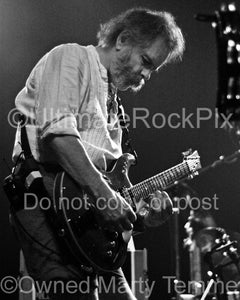 Black and white photo of Bob Weir of RatDog and The Grateful Dead in concert by Marty Temme