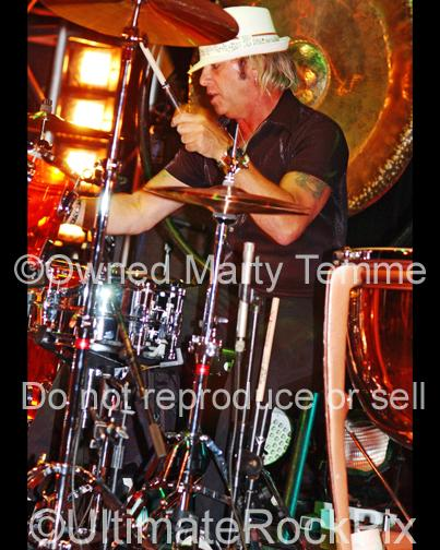 Photos of Drummer Bobby Blotzer of Ratt Playing in Concert by Marty Temme
