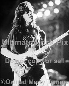 Black and white photo of Warren DeMartini of Ratt in concert in 1989 by Marty Temme
