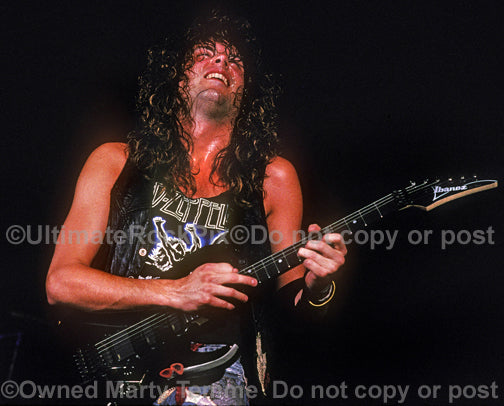Photo of Reb Beach of Winger in concert in 1989 by Marty Temme
