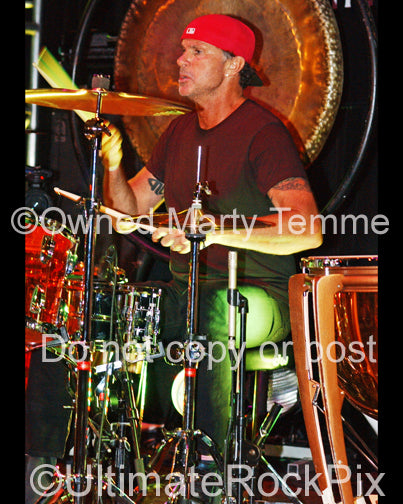 Photo of drummer Chad Smith of The Red Hot Chili Peppers in concert in 2010 by Marty Temme