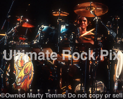 Photo of drummer Chad Smith of The Red Hot Chili Peppers in concert in 1992 by Marty Temme