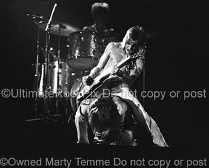 Black and White Photos of David Bowie and Mick Ronson in Concert in 1973 by Marty Temme