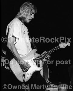 Black and White Photos of Mick Ronson Playing a Fender Stratocaster in 1979 by Marty Temme