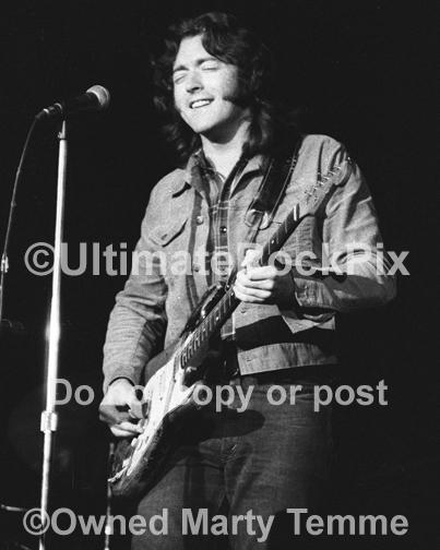 Black and White Photos of Guitar Player Rory Gallagher Playing his Fender Stratocaster in Concert in 1973 by Marty Temme