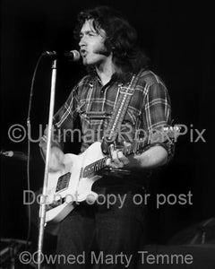 Black and White Photos of Guitar Player Rory Gallagher Playing his Fender Telecaster in Concert in 1973 by Marty Temme