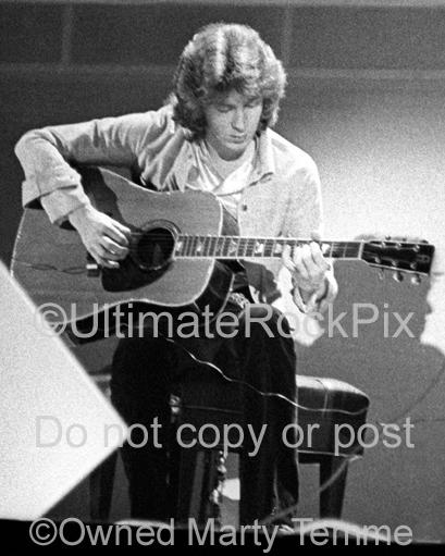 Photos of Mick Taylor of The Rolling Stones Playing Acoustc Guitar in 1973 by Marty Temme