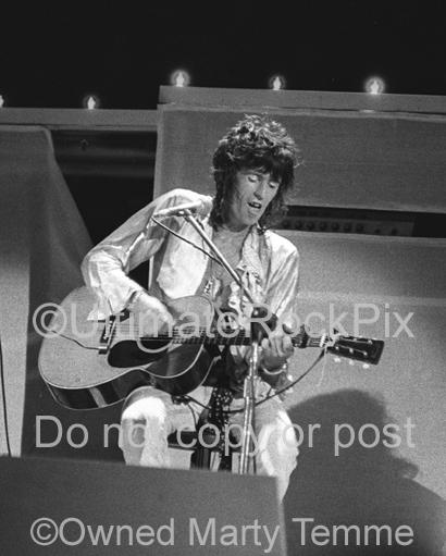 Black and White Photos of Keith Richards of The Rolling Stones Playing a Martin Guitar in Concert in 1973 by Marty Temme