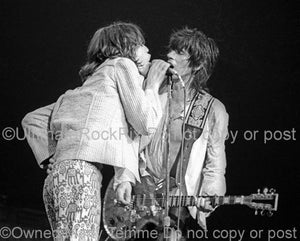 Photos of Mick Jagger and Keith Richards of The Rolling Stones Performing in Concert in 1975 by Marty Temme