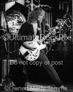 Black and White Photos of Alex Lifeson of Rush in Concert in 1980