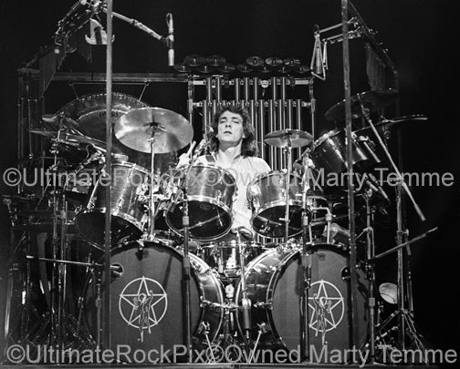 Photo of drummer Neil Peart in concert in 1980