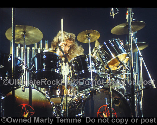Photo of drummer Neil Peart in concert in 1978
