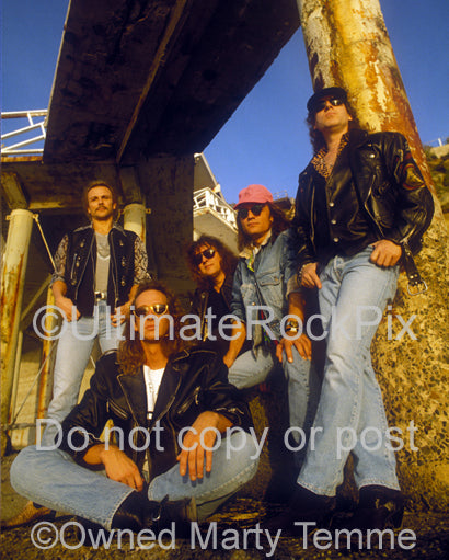 Photo of the heavy metal band Scorpions during a photo shoot in 1991 by Marty Temme