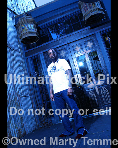 Photo of Lajon Witherspoon of Sevendust during a photo shoot in 2007 by Marty Temme