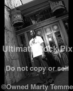 Black and white photo of Lajon Witherspoon of Sevendust during a photo shoot in 2007 by Marty Temme