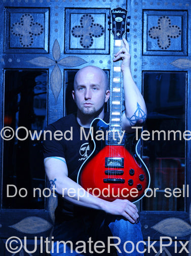 Photo of guitarist Sonny Mayo of Sevendust during a photo shoot in 2007