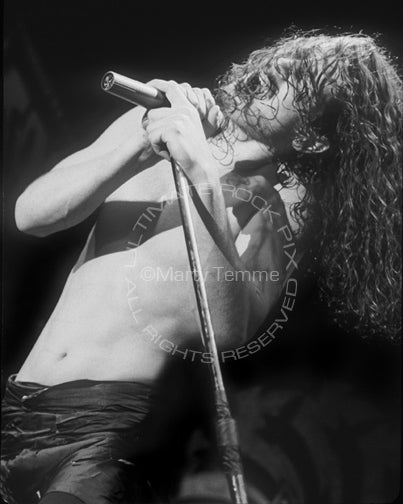 Black and white photo of Chris Cornell in concert in 1992 by Marty Temme