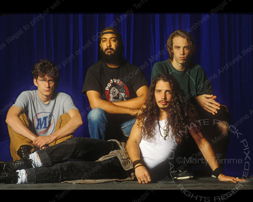 Photo of Soundgarden during a photo shoot in 1991 by Marty Temme